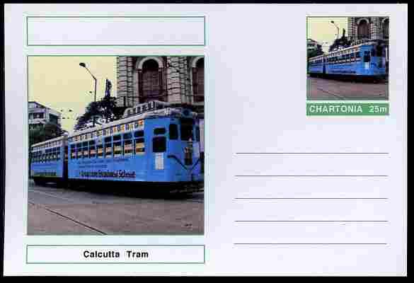 Chartonia (Fantasy) Buses & Trams - Calcutta Tram postal stationery card unused and fine