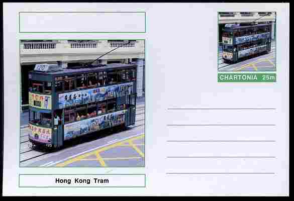 Chartonia (Fantasy) Buses & Trams - Hong Kong Tram postal stationery card unused and fine