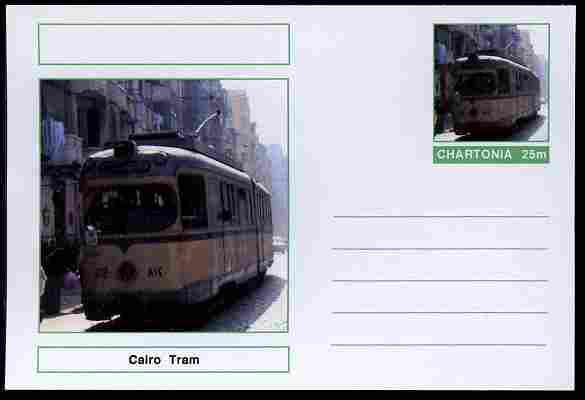 Chartonia (Fantasy) Buses & Trams - Cairo Tram postal stationery card unused and fine
