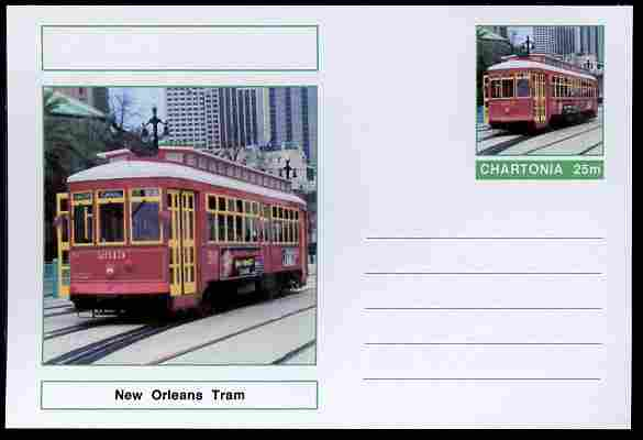 Chartonia (Fantasy) Buses & Trams - New Orleans Tram postal stationery card unused and fine