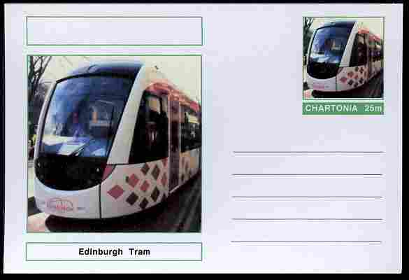 Chartonia (Fantasy) Buses & Trams - Edinburgh Tram postal stationery card unused and fine