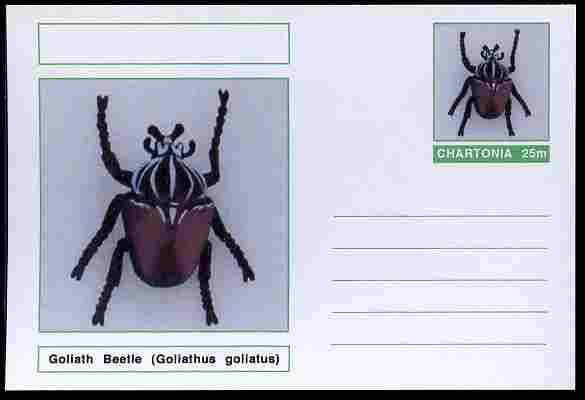 Chartonia (Fantasy) Insects - Goliath Beetle (Goliathus goliatus) postal stationery card unused and fine