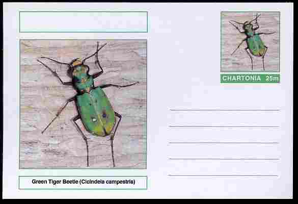 Chartonia (Fantasy) Insects - Green Tiger Beetle (Cicindela campestris) postal stationery card unused and fine