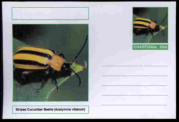 Chartonia (Fantasy) Insects - Striped Cucumber Beetle (Acalymma vittatum) postal stationery card unused and fine