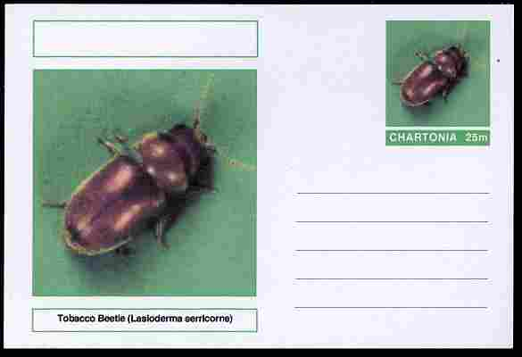 Chartonia (Fantasy) Insects - Tobacco Beetle (Lasioderma serricorne) postal stationery card unused and fine