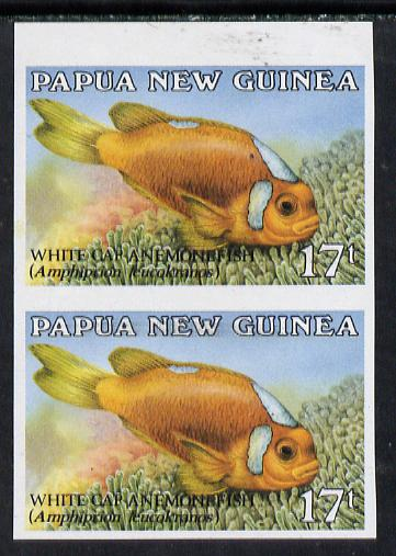 Papua New Guinea 1987 Fish 17t (Anemone Fish) unmounted mint imperf pair, SG 539var