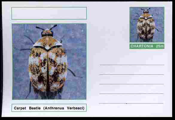 Chartonia (Fantasy) Insects - Carpet Beetle (Anthrenus Verbasci) postal stationery card unused and fine, stamps on insects, stamps on beetles