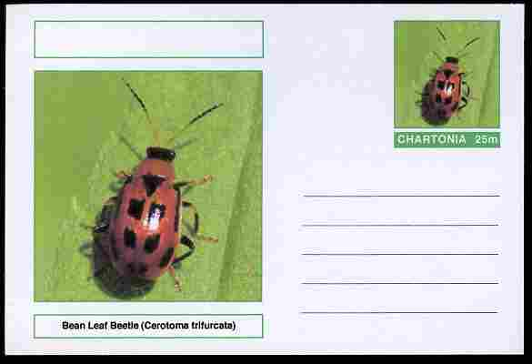 Chartonia (Fantasy) Insects - Bean Leaf Beetle (Cerotoma trifurcata) postal stationery card unused and fine