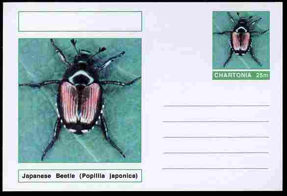 Chartonia (Fantasy) Insects - Japanese Beetle (Popillia japonica) postal stationery card unused and fine