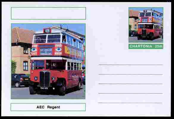 Chartonia (Fantasy) Buses & Trams - AEC Regent Bus postal stationery card unused and fine