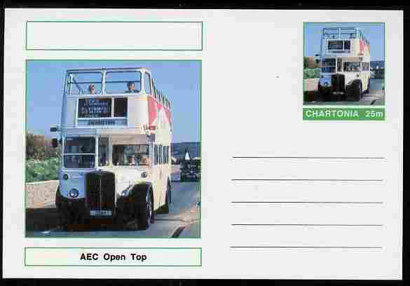 Chartonia (Fantasy) Buses & Trams - AEC Open Top Bus postal stationery card unused and fine, stamps on transport, stamps on buses