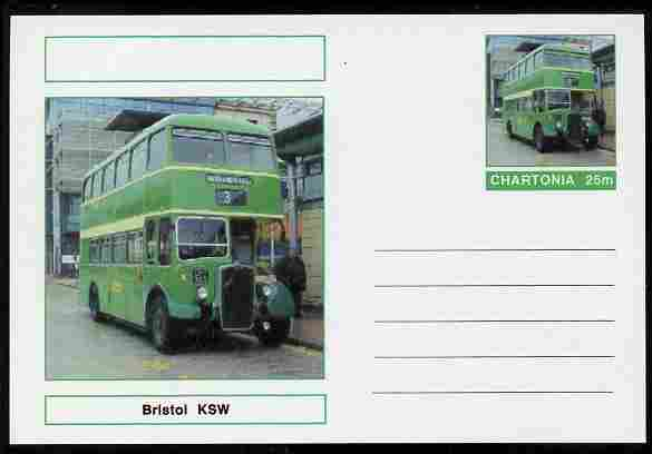Chartonia (Fantasy) Buses & Trams - Bristol KSW Bus postal stationery card unused and fine