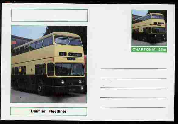 Chartonia (Fantasy) Buses & Trams - Daimler Fleetliner Bus postal stationery card unused and fine