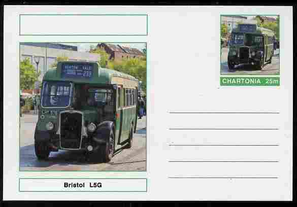 Chartonia (Fantasy) Buses & Trams - Bristol L5G Bus postal stationery card unused and fine