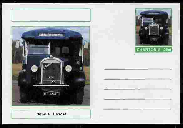 Chartonia (Fantasy) Buses & Trams - Dennis Lancet postal stationery card unused and fine