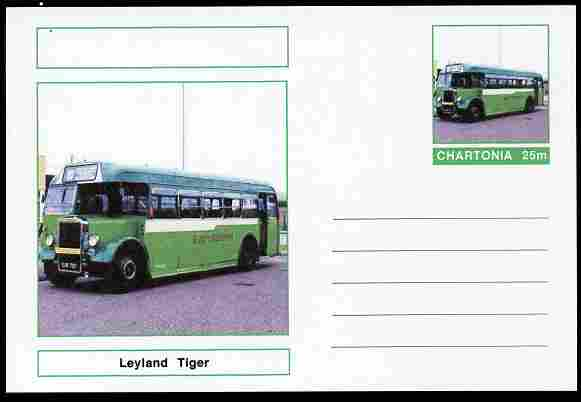Chartonia (Fantasy) Buses & Trams - Leyland Tiger Bus postal stationery card unused and fine