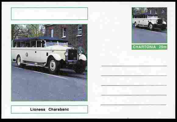 Chartonia (Fantasy) Buses & Trams - Lioness Charabanc postal stationery card unused and fine