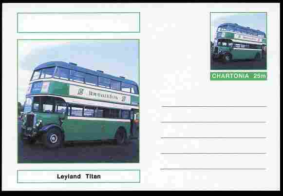 Chartonia (Fantasy) Buses & Trams - Leyland Titan Bus postal stationery card unused and fine, stamps on transport, stamps on buses