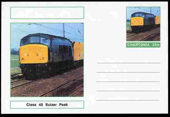 Chartonia (Fantasy) Railways - Class 45 Sulzer Peak postal stationery card unused and fine
