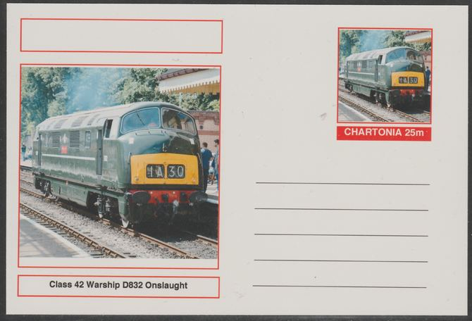 Chartonia (Fantasy) Railways - Class 42 Warship D832 Onslaught postal stationery card unused and fine
