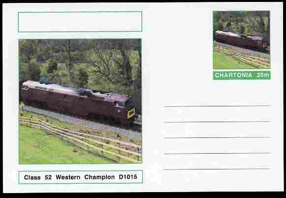Chartonia (Fantasy) Railways - Class 52 Western Champion D1015 postal stationery card unused and fine