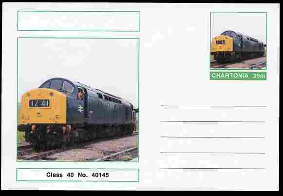 Chartonia (Fantasy) Railways - Class 40 No. 40145 postal stationery card unused and fine