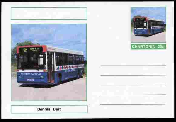 Chartonia (Fantasy) Buses & Trams - Dennis Dart Bus postal stationery card unused and fine