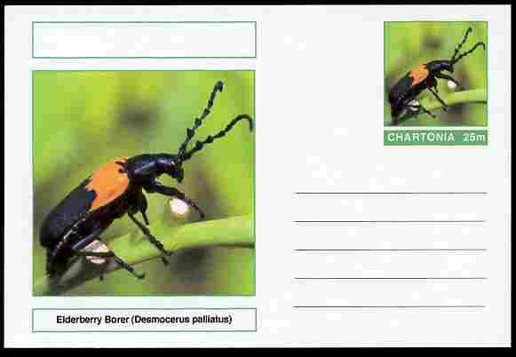 Chartonia (Fantasy) Insects - Elderberry Borer (Desmocerus palliatus) postal stationery card unused and fine