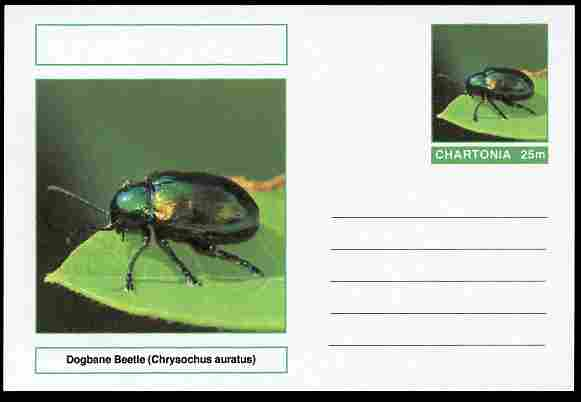 Chartonia (Fantasy) Insects - Dogbane Beetle (Chrysochus auratus) postal stationery card unused and fine