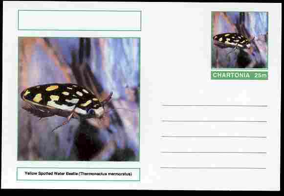 Chartonia (Fantasy) Insects - Yellow Spotted Water Beetle (Thermonectus marmoratus) postal stationery card unused and fine