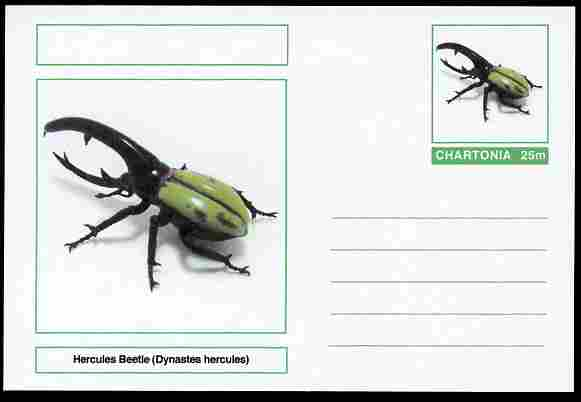 Chartonia (Fantasy) Insects - Hercules Beetle (Dynastes hercules) postal stationery card unused and fine, stamps on insects, stamps on beetles