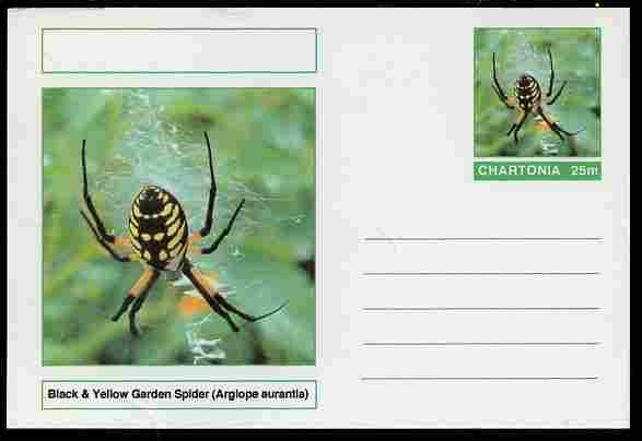 Chartonia (Fantasy) Aracnids - Black & Yellow Garden Spider (Argiope aurantia) postal stationery card unused and fine