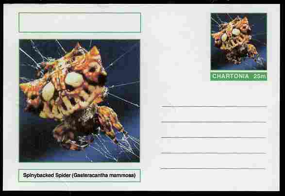 Chartonia (Fantasy) Aracnids - Spinybacked Spider (Gasteracantha mammosa) postal stationery card unused and fine