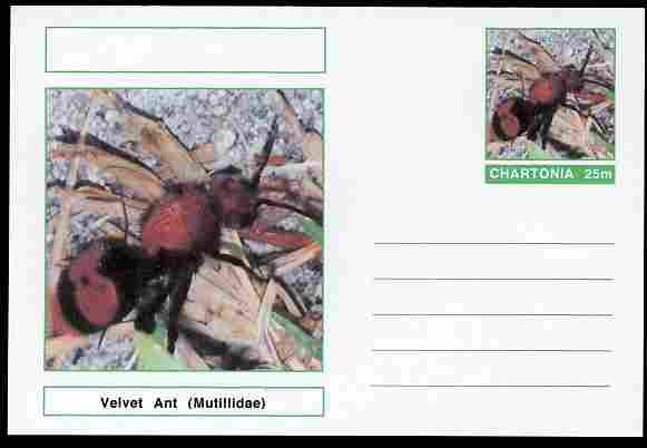 Chartonia (Fantasy) Insects - Velvet Ant (Mutillidae) postal stationery card unused and fine