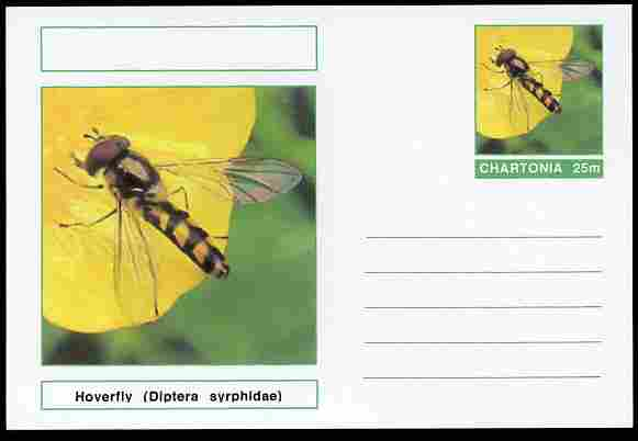 Chartonia (Fantasy) Insects - Hoverfly (Diptera syrphidae) postal stationery card unused and fine