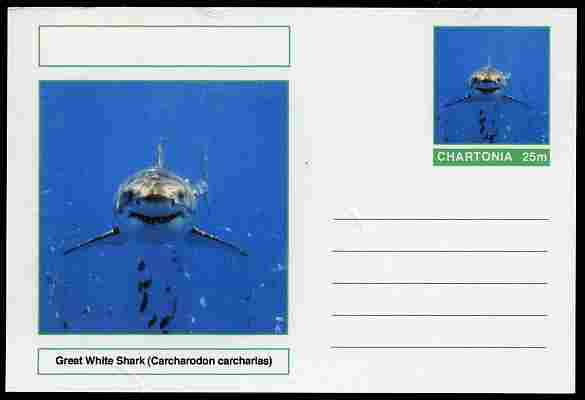 Chartonia (Fantasy) Fish - Great White Shark (Carcharodon carcharias) postal stationery card unused and fine