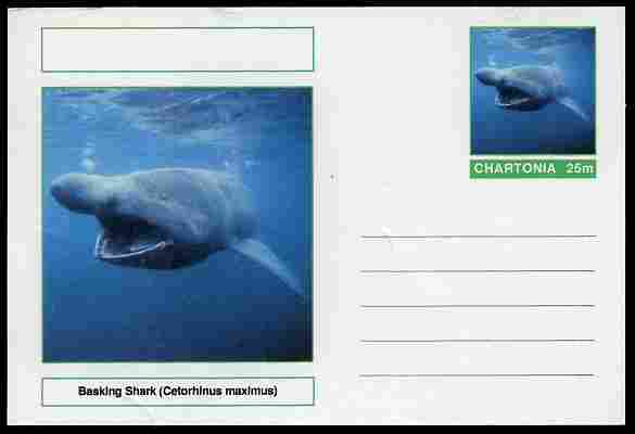 Chartonia (Fantasy) Fish - Basking Shark (Cetorhinus maximus) postal stationery card unused and fine