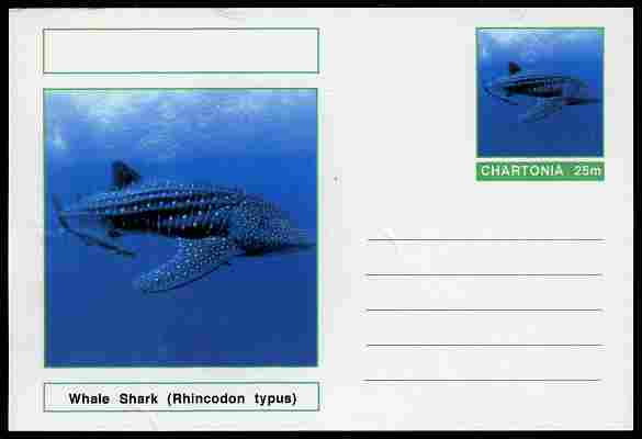 Chartonia (Fantasy) Fish - Whale Shark (Rhincodon typus) postal stationery card unused and fine