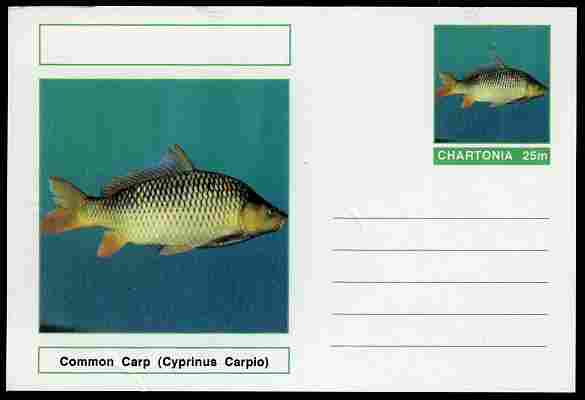 Chartonia (Fantasy) Fish - Common Carp (Cyprinus Carpio) postal stationery card unused and fine, stamps on fish, stamps on