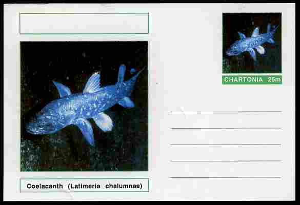 Chartonia (Fantasy) Fish - Coelacanth (Latimeria chalumnae) postal stationery card unused and fine