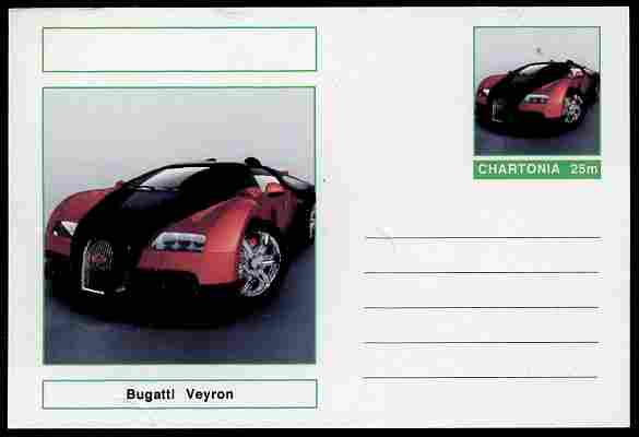 Chartonia (Fantasy) Cars - 2009 Bugatti Veyron postal stationery card unused and fine