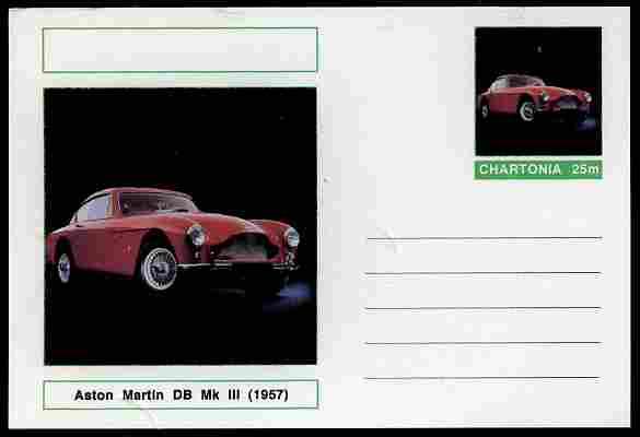 Chartonia (Fantasy) Cars - 1957 Aston Martin DB Mk III postal stationery card unused and fine