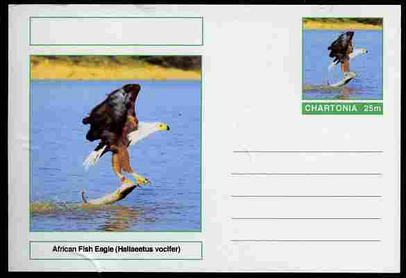 Chartonia (Fantasy) Birds - African Fish Eagle (Haliaeetus vocifer) postal stationery card unused and fine