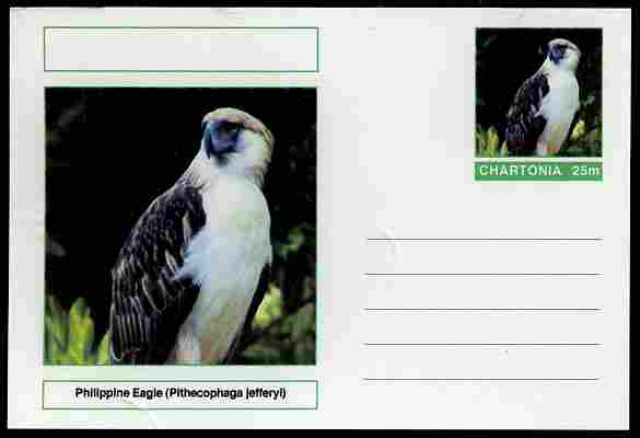 Chartonia (Fantasy) Birds - Philippine Eagle (Pithecophaga jefferyi) postal stationery card unused and fine