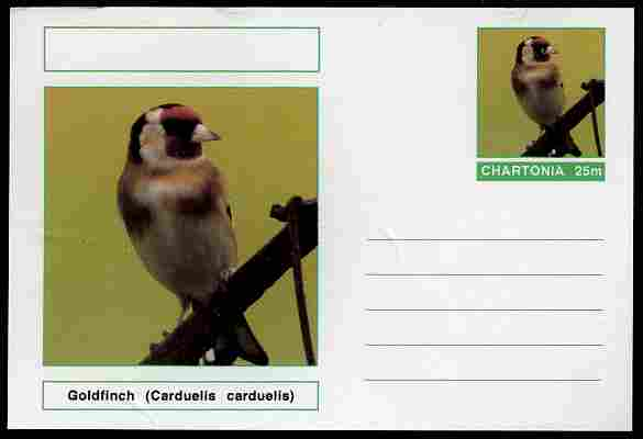 Chartonia (Fantasy) Birds - Goldfinch (Carduelis carduelis) postal stationery card unused and fine