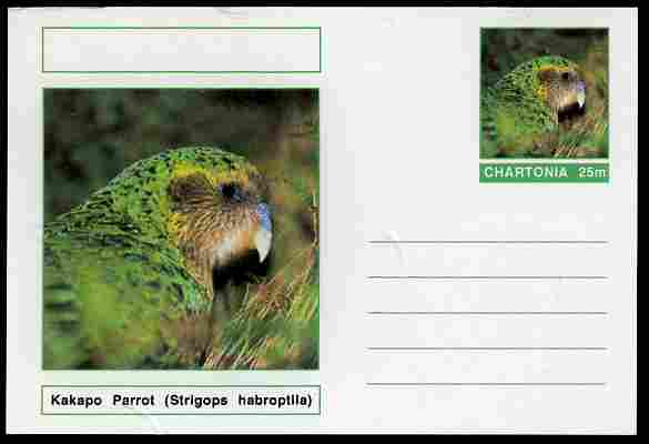 Chartonia (Fantasy) Birds - Kakapo Parrot (Strigops habroptila) postal stationery card unused and fine