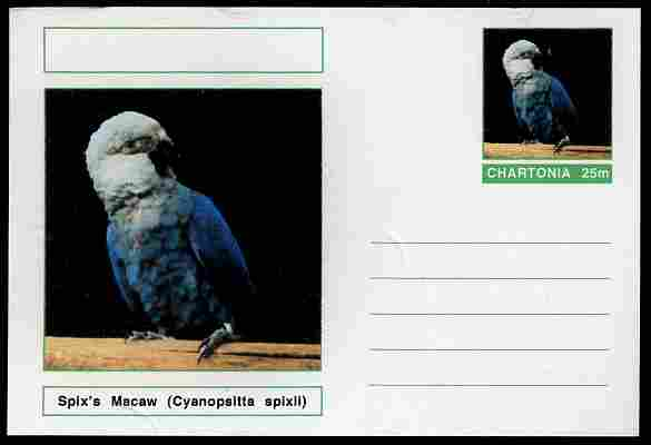 Chartonia (Fantasy) Birds - Spix\D5s Macaw (Cyanopsitta spixii) postal stationery card unused and fine