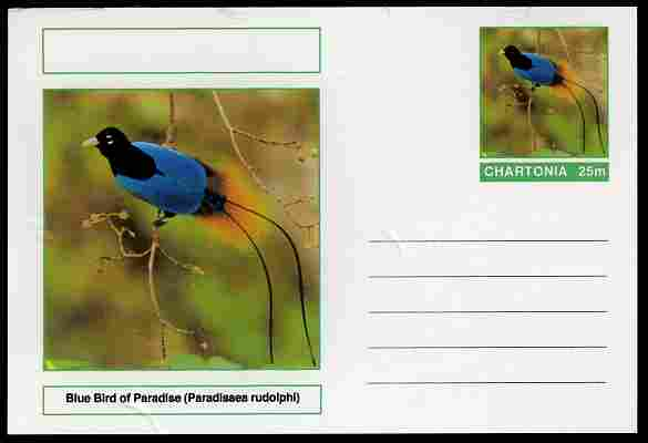 Chartonia (Fantasy) Birds - Blue Bird of Paradise (Paradisaea rudolphi) postal stationery card unused and fine