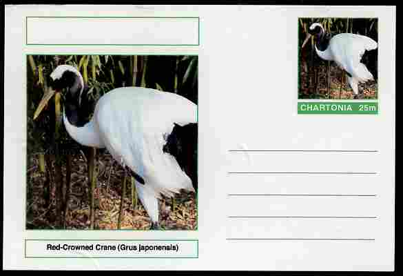 Chartonia (Fantasy) Birds - Red-Crowned Crane (Grus japonensis) postal stationery card unused and fine