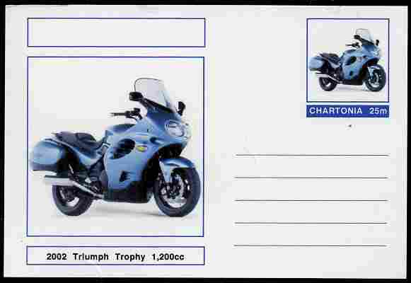 Chartonia (Fantasy) Motorcycles - 2002 Triumph Trophy postal stationery card unused and fine